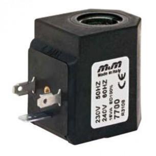 7701, Mágnestekercs magas hőmérsékletű szelepekhez, 230V Váltóáram (AC)